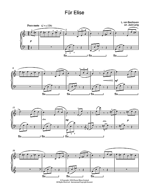 Piano fur elise piano tabs : Fur Elise sheet music by Ludwig van Beethoven (Piano – 15669)