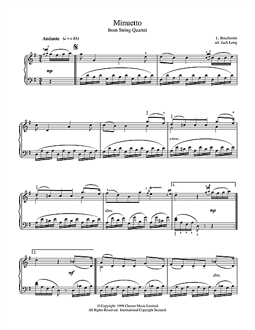 Partition piano Minuet (from String Quintet in E Major, Op.11 No.5) de Luigi Boccherini - Piano Solo