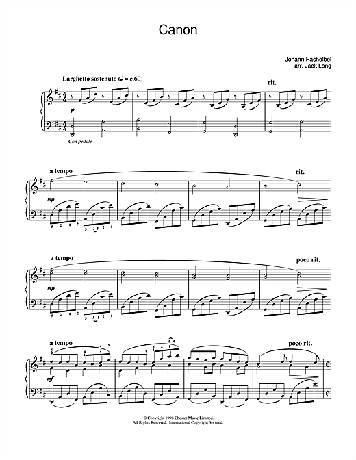 partition piano canon in c pachelbel