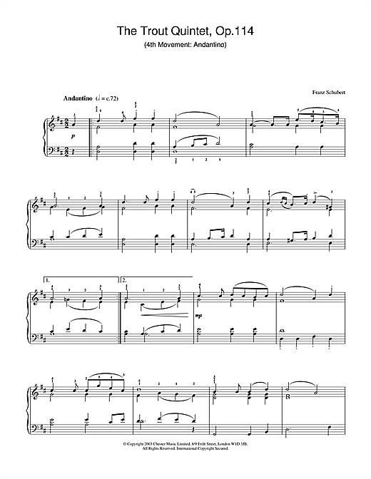Theme From The Trout Quintet (Die Forelle) (Piano Solo)