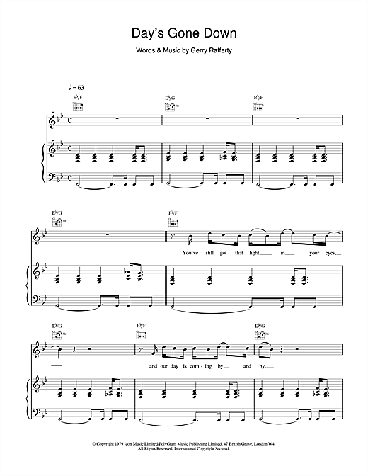 Day's Gone Down Sheet Music