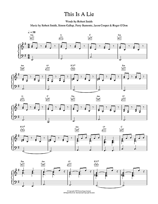 This Is A Lie Sheet Music