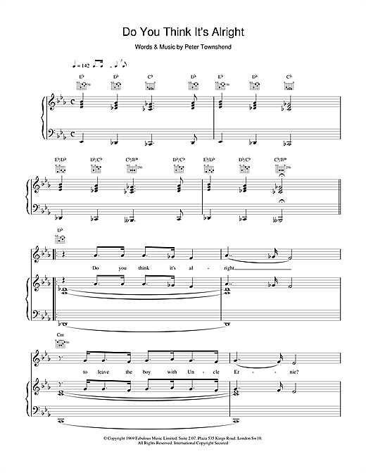 Do You Think It's Alright Sheet Music
