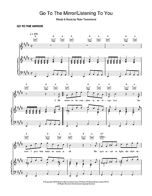 Go To The Mirror Sheet Music