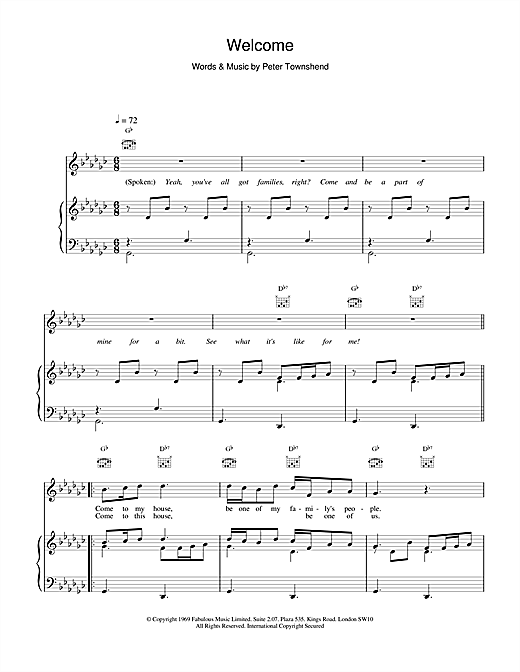 Welcome Sheet Music