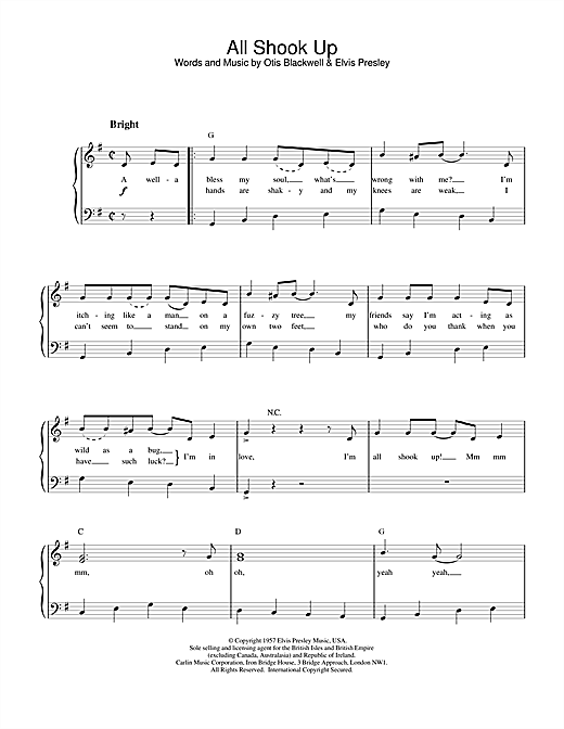 All Shook Up sheet music for piano