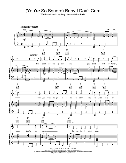 (You're So Square) Baby I Don't Care Sheet Music
