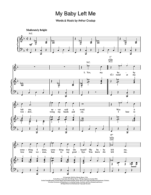 My Baby Left Me Sheet Music