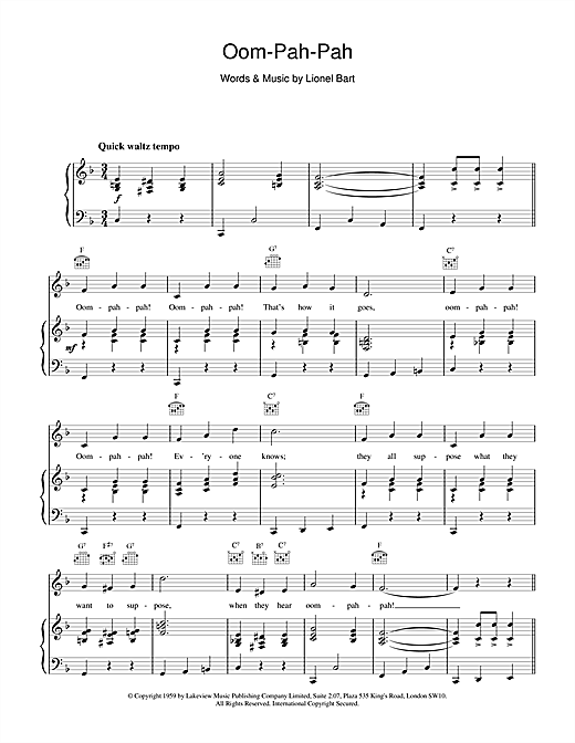 Oom-Pah-Pah (from Oliver!) (Piano, Vocal & Guitar (Right-Hand Melody))