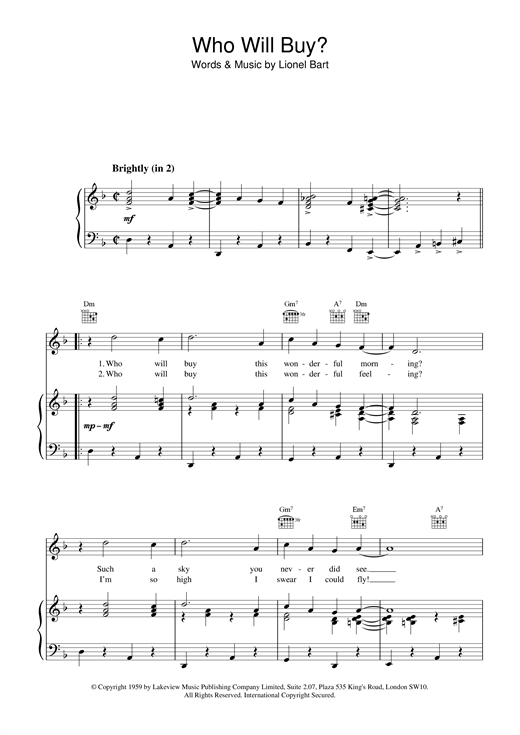 Who Will Buy (from Oliver!) Sheet Music