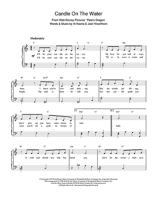 Candle On The Water (from Walt Disney's Pete's Dragon) (Piano Solo)