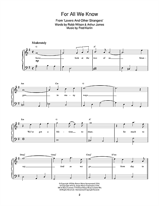 For All We Know Sheet Music