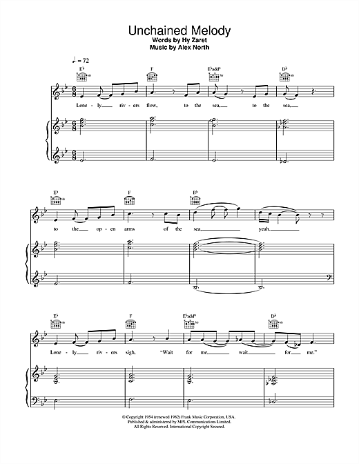 Unchained Melody (Piano, Vocal & Guitar (Right-Hand Melody))