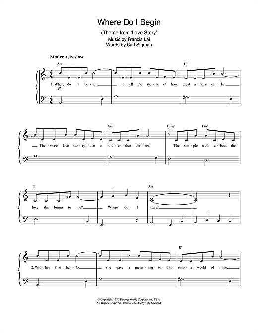 Partition piano Where Do I Begin (theme from Love Story) de Francis Lai and Carl Sigman - Piano Solo