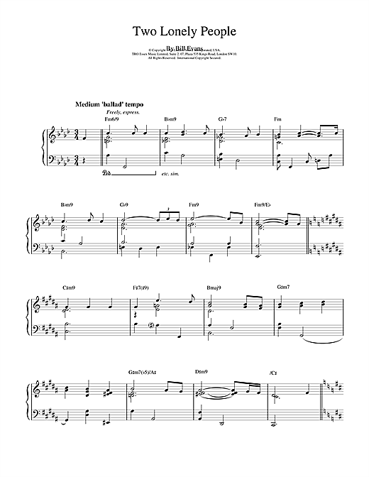 Two Lonely People Sheet Music