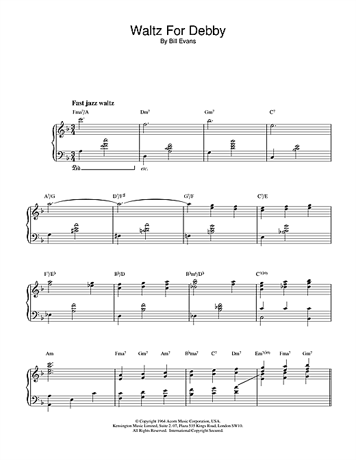 page one of Waltz For DebbyASALTTEXT