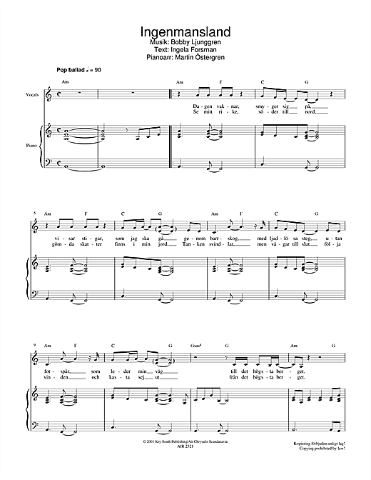 Partition piano Ingenmansland de Jan Johansen - Piano Voix Guitare