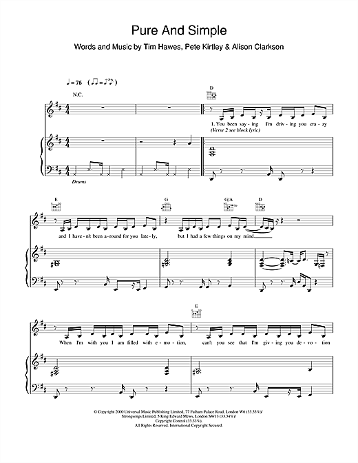 Partition piano Pure And Simple de Hear'Say - Piano Voix Guitare