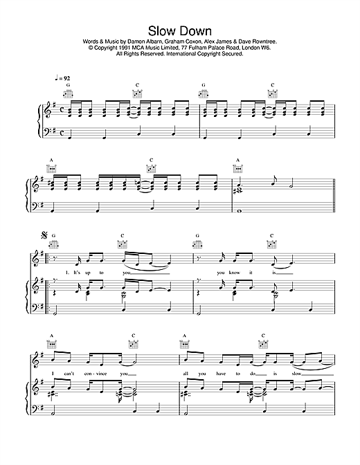 Slow Down Sheet Music
