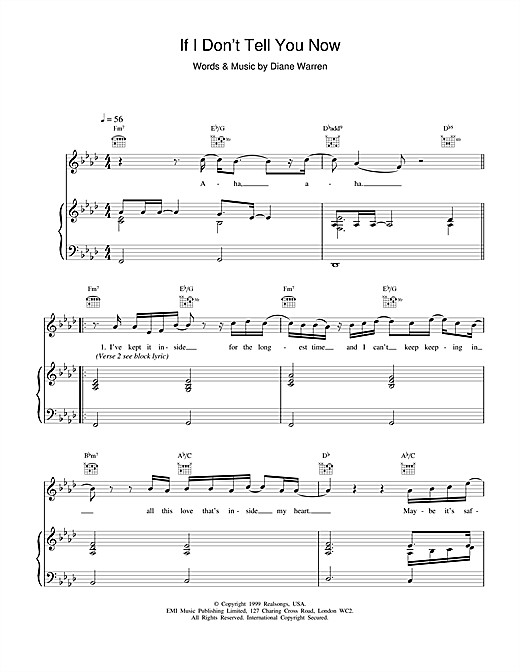If I Don't Tell You Now Sheet Music