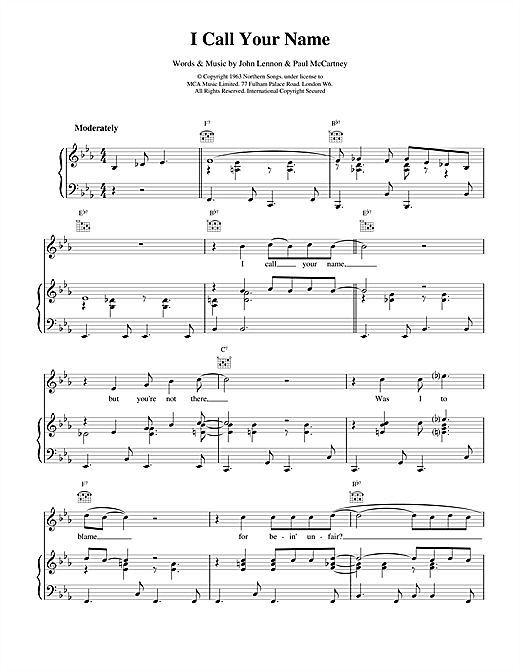 I Call Your Name Sheet Music