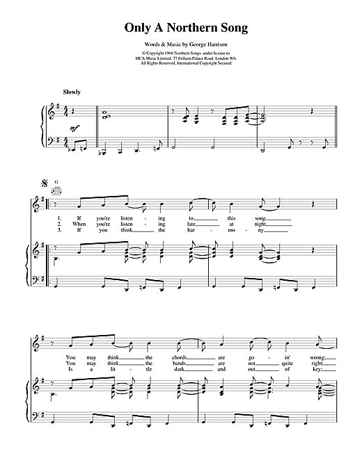 Only A Northern Song (Piano, Vocal & Guitar (Right-Hand Melody))