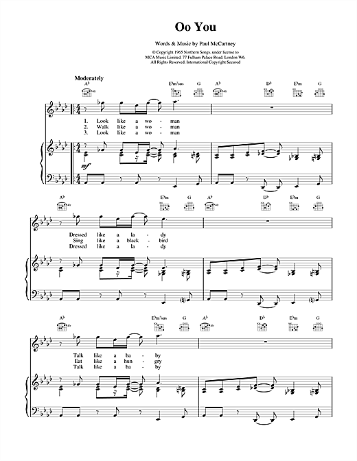 Oo You (Piano, Vocal & Guitar (Right-Hand Melody))