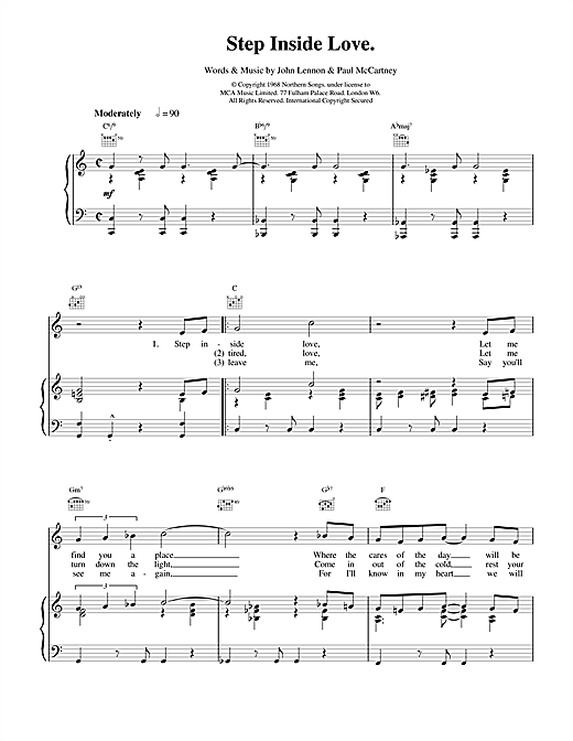 Step Inside Love Sheet Music