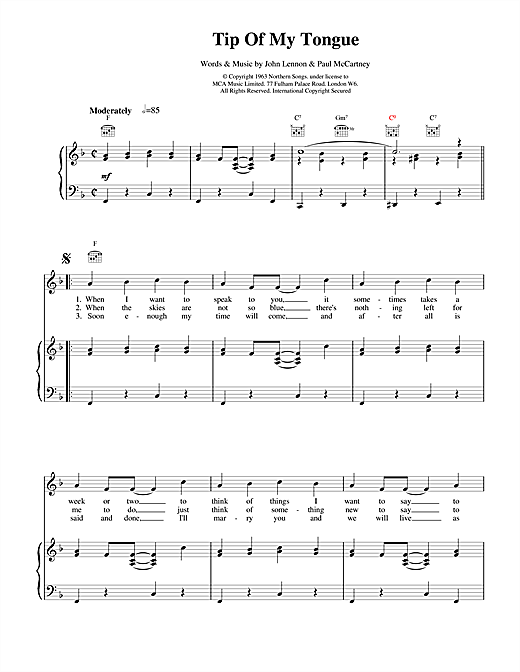 Tip Of My Tongue Sheet Music