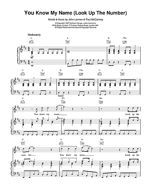 You Know My Name (Look Up The Number) Sheet Music