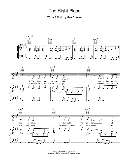 The Right Place Sheet Music