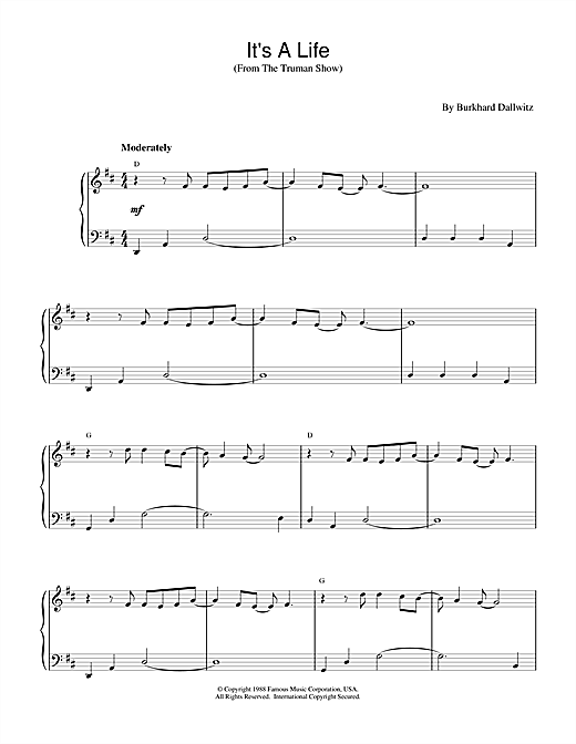 Partition piano It's a Life (from The Truman Show) de Burkhard Dallwitz - Piano Facile