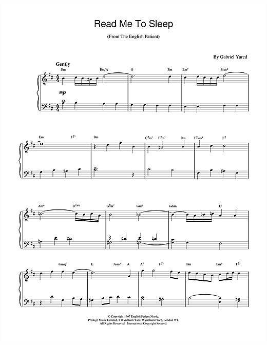 Partition piano Read Me to Sleep (from The English Patient) de Gabriel Yared - Piano Solo
