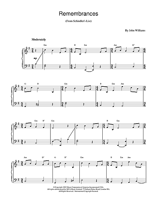 Remembrances (from Schindler's List) Sheet Music