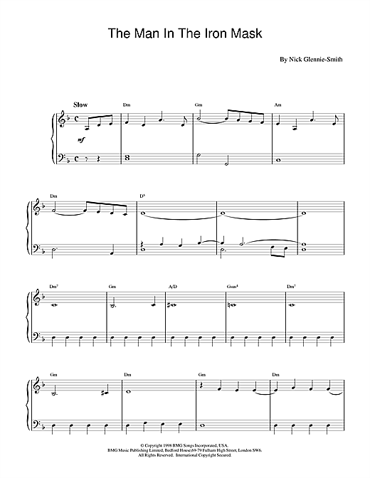 Partition piano The Man in the Iron Mask de Nick Glennie-Smith - Piano Facile