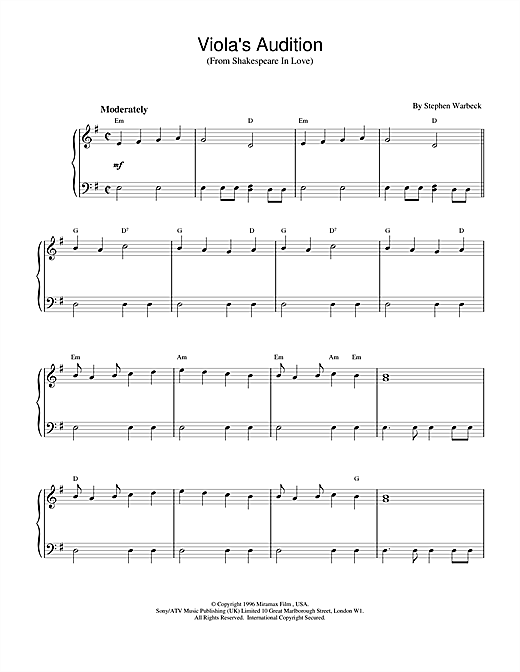Viola's Audition (from Shakespeare In Love) Sheet Music