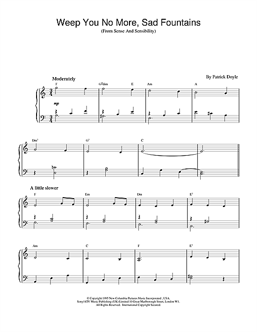 Weep You No More, Sad Fountains (from Sense And Sensibility) Sheet Music