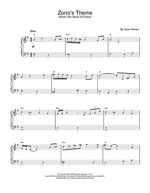 Zorro's Theme (from The Mask Of Zorro) Sheet Music