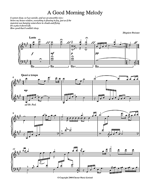 Partition piano A Good Morning Melody de Zbigniew Preisner - Piano Solo