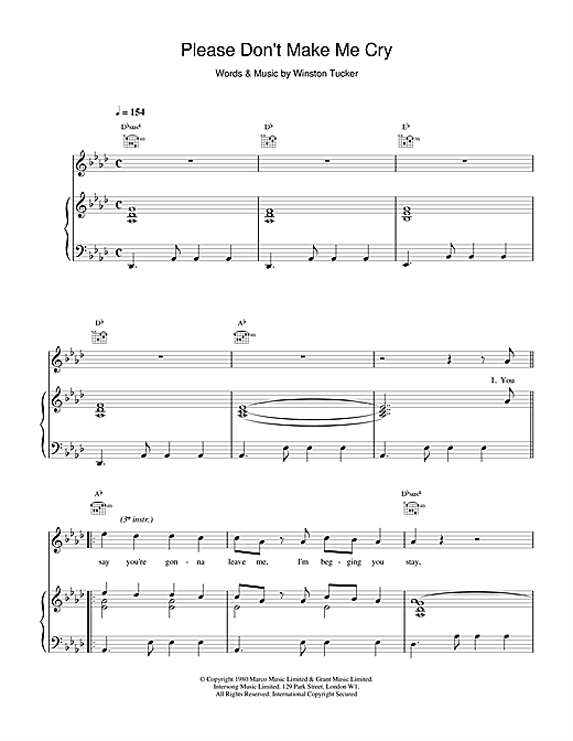 Please Don't Make Me Cry Sheet Music