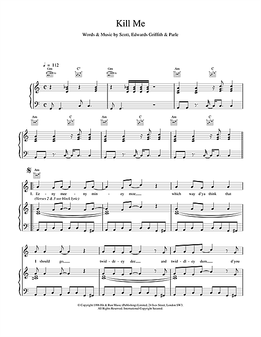 Kill Me (Piano, Vocal & Guitar (Right-Hand Melody))