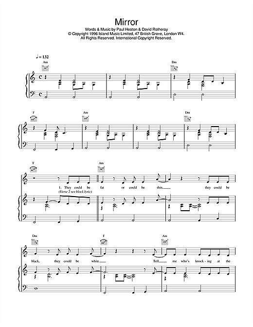 Mirror (Piano, Vocal & Guitar (Right-Hand Melody))