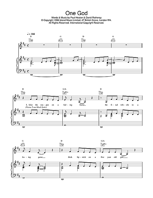 Partition piano One God de The Beautiful South - Piano Voix Guitare (Mélodie Main Droite)