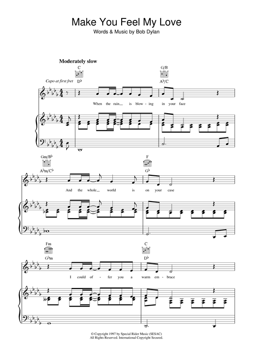 Make You Feel My Love Print Sheet Music Now