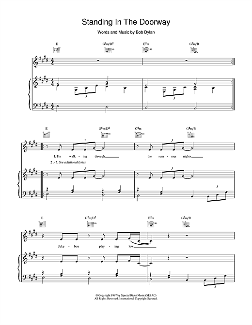Standing In The Doorway (Piano, Vocal & Guitar (Right-Hand Melody))
