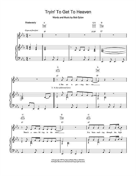 Tryin'To Get To Heaven Sheet Music