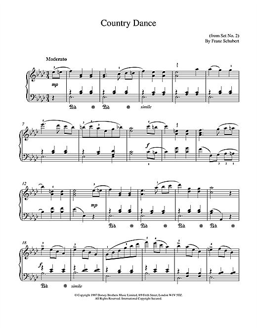 Partition piano Country Dance de Franz Schubert - Piano Solo