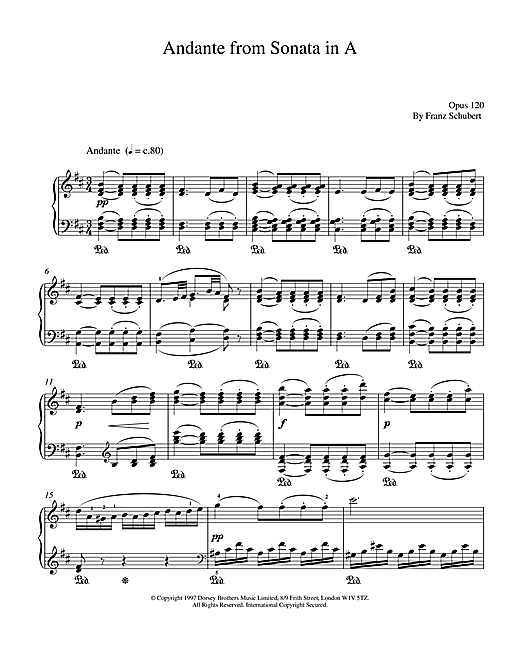 Andante From Sonata In A Sheet Music