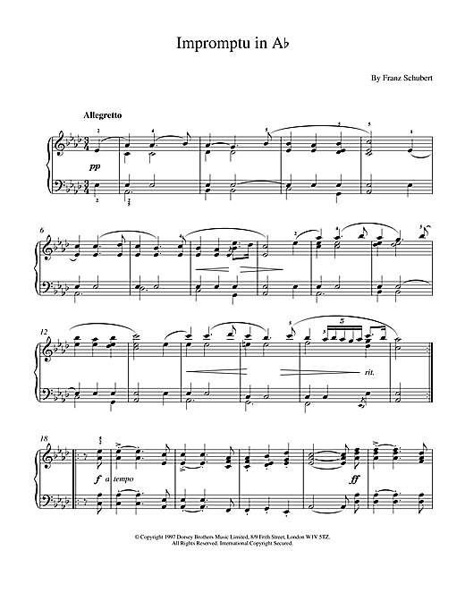 Impromptu No. 2 in A Flat Major (excerpt), Op.142 Sheet Music