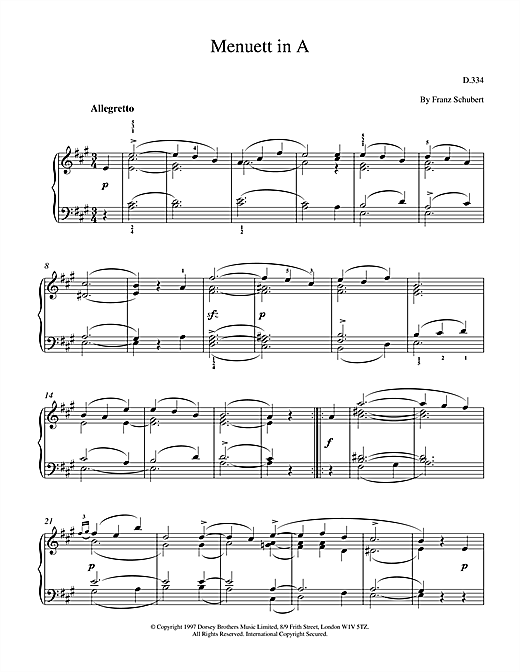 Menuett In A Sheet Music